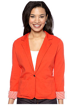 Kim Rogers Petite One Button Casual Blazer with Rolled Sleeves
