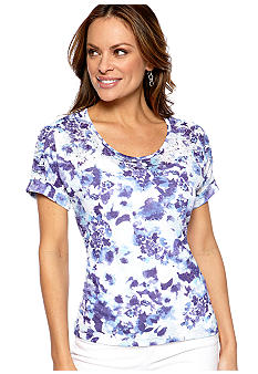 Kim Rogers Petite Printed Burnout Tee with Stud Embellishments