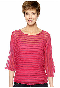 Kim Rogers Sheer Stripe Pullover Sweater