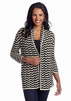 Kim Rogers® Crochet Chevron Knit Cardigan