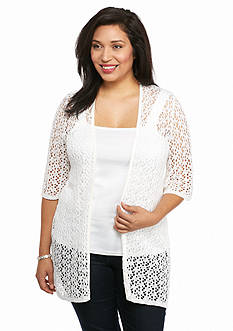 Kim Rogers Plus Size Long Pointelle Cardigan