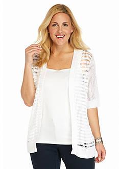 Kim Rogers Plus Size Elbow Sleeve Knit Cardigan