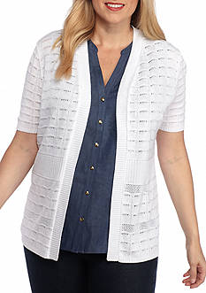 Kim Rogers Women's Plus Eyelash Mesh Cardigan
