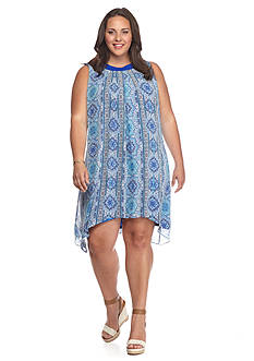 New Directions Plus Size Printed Woven Shift Dress