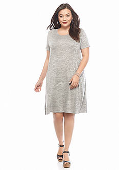 New Directions Plus Size Scoop Pocket Swing Dress