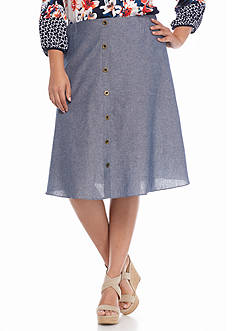 New Directions Plus Size Button Front Skirt