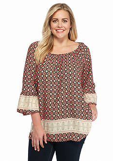 New Directions Plus Size Border Print Bell Sleeve Top