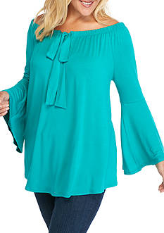 New Directions Plus Size Off The Shoulder Bow Neckline Top