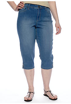 New Directions Weekend Plus Size Denim Crop with Embroidered Flap Pockets
