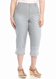 New Directions Weekend Plus Size Railroad Stripe Capris
