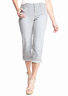 New Directions Weekend Kelsey Rail Road Stripe Cuff Capri Pants