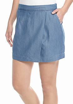 New Directions Weekend Petite Chambray Skort