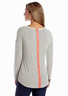 Pink Rose Zipper Back Stripe Top
