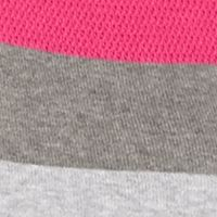 Juniors Pullover: Pop Sangria/Heather Grey Pink Rose High Low Stripe Sweater