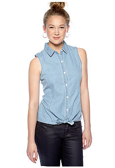 Pink Rose Lace Back Trim Sleeveless Chambray Top with Front Tie