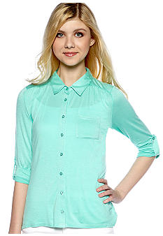 Pink Rose Three-Quarter Sleeve Hi-Lo Hem Shirt
