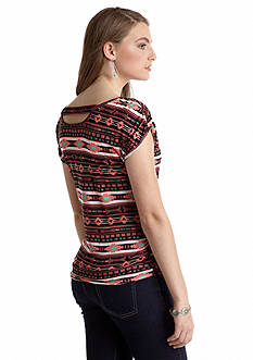 Pink Rose Tribal Printed Bar Back Top