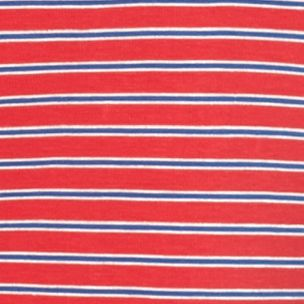 Knit Tops For Juniors: Rio Red/Cobalt/Ivory Pink Rose Striped Zip Back Tee