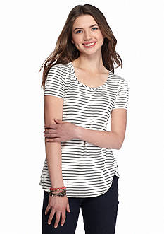 Pink Rose Shirttail Swing Cap Stripe Tee