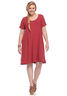 Pink Rose Plus Size Knit Swing Dress