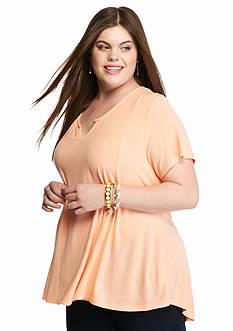 Pink Rose Plus Size Seamed Notch Swing Tee