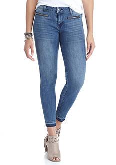 Celebrity Pink Zipper Released Hem Skinny Jeans