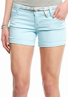 Celebrity Pink Solid Belted Roll Cuff Shorts