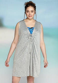 Dotti Plus Size Opposites Attract Shirred Dress Cover Up