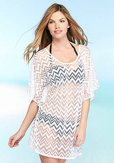 Dotti Chic Chevron Flutter Sleeve Tunic Cover Up