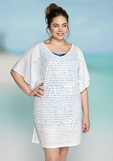 Dotti Plus Size Geo Muse Flutter Sleeve Tunic