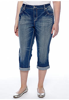 ZCO Jeans Plus Size Colored Stitch Cropped Jeans