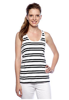 Calvin Klein Performance Stripe Tank with Exposed Back Zipper