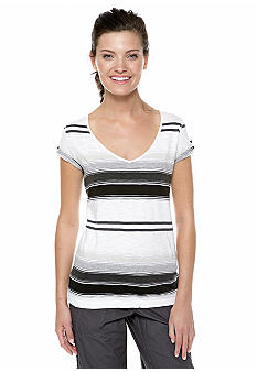 Calvin Klein Performance Bedford Stripe Tee with Short Roll Tab Sleeves