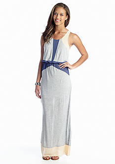 Under Skies Colorblock Chiffon Trim Maxi Dress