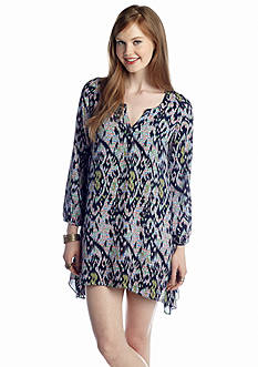 Under Skies Ikat Printed Shirt Dress