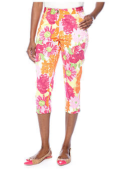 Skye's the Limit Mediterraneo Floral Print Crop Pant with Zipper at Ankle