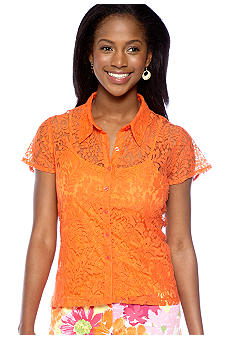Skye's the Limit Mediterraneo Hi Low Button Down Lace Top with Tank