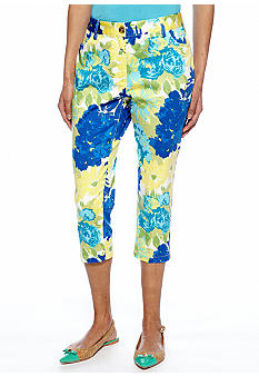 Skye's the Limit Petite Mediterraneo Floral Print Crop Pant with Zipper at Ankle