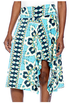 Skye's the Limit Petite Mediterraneo Printed Asymmetrical Skirt