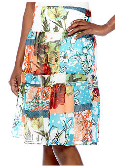 Skye's the Limit Petite Mediterraneo Printed Tiered Skirt