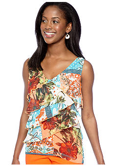 Skye's the Limit Petite Mediterraneo Printed A-Line Ruffle Tank Top