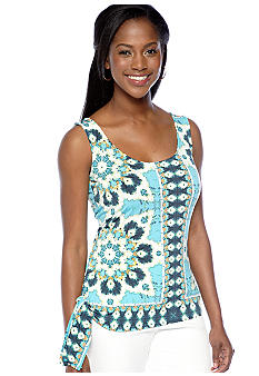 Skye's the Limit Petite Mediterraneo Printed Side Tie Tank Top