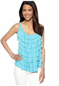 Skye's the Limit Petite Mediterraneo Tiered Ruffle Tank