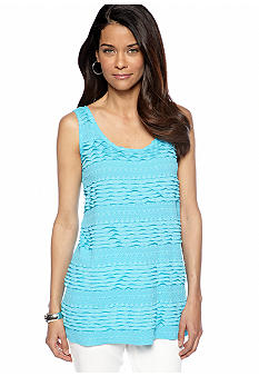 Skye's the Limit Petite Mediterraneo Tiered Ruffle Tunic Tank Top