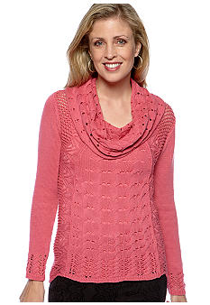 Skye's the Limit Winter Garden Cowl Neck Cable Sweater