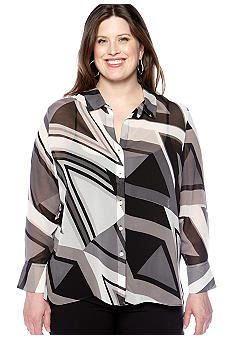 Skye's the Limit Plus Size Modern Retro Hi Lo Button Front Blouse