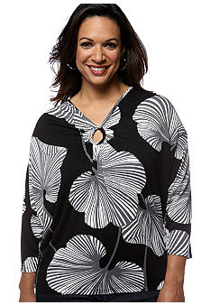 Skye's the Limit Plus Size Modern Retro Draped Keyhole Neckline Top