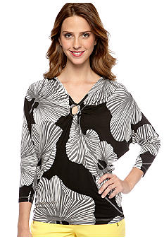 Skye's the Limit Petite Modern Retro Keyhole Front Top