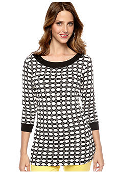 Skye's the Limit Petite Modern Retro Banded Neck Tunic