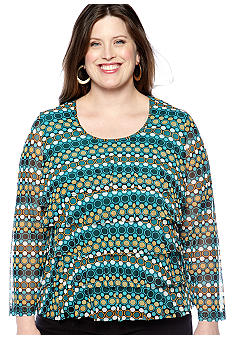 Skye's the Limit Plus Size Elegant Explorer Printed Ruffle Knit Top